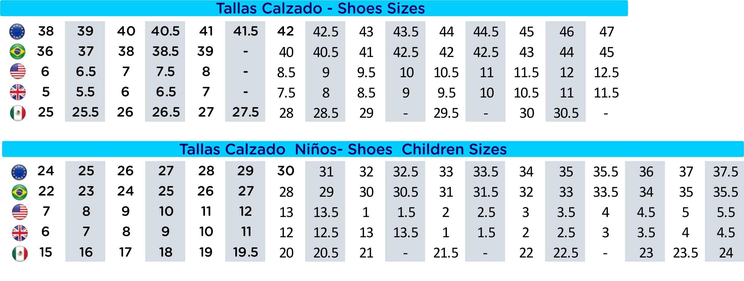 talla calzado